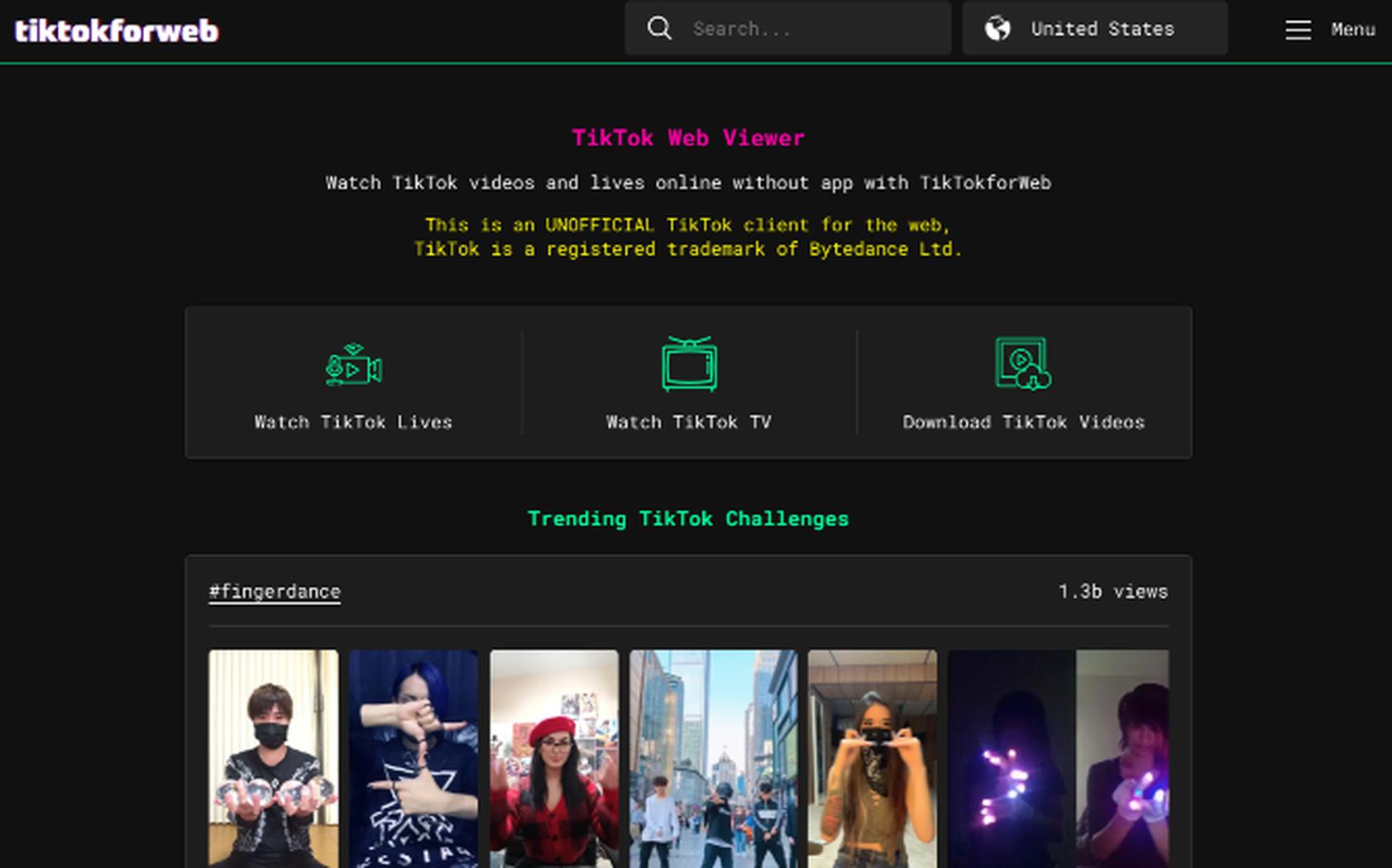 TikTok 的非官方 Web 客户端